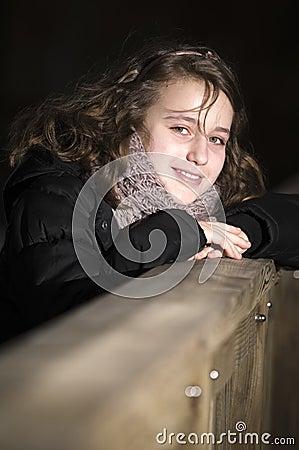 Happy girl at night