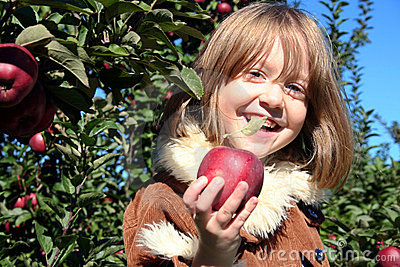 Happy Girl offers fresh apple