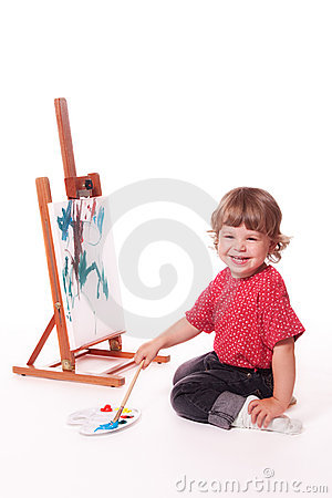 Free Happy Girl Painting On Easel Stock Image - 11725781