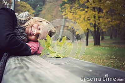 Happy girl in park
