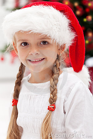Happy girl portrait at christmas time