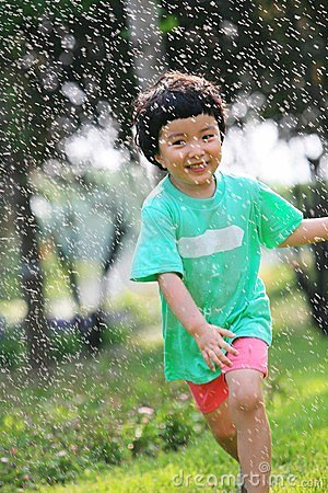 Happy girl in the rain