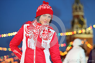 Happy girl at GUM-Skating rink on Red Square