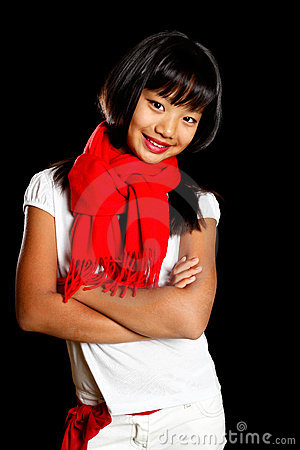 Happy girl in a red scarf