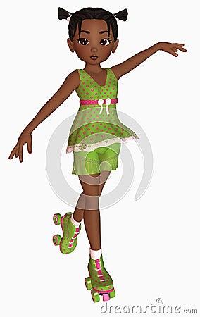 Happy girl on rollerskates