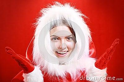 Happy girl in santa cloth