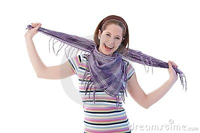 Happy girl in scarf and t-shirt