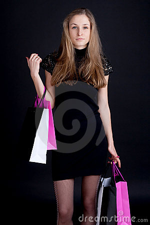 Happy girl with shopping