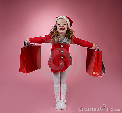 Happy girl with shopping bag
