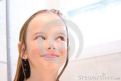 Happy girl in shower