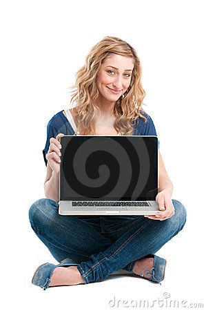 Free Happy Girl Showing Laptop Computer Royalty Free Stock Images - 19846909