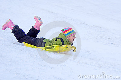 Happy Girl Sledding