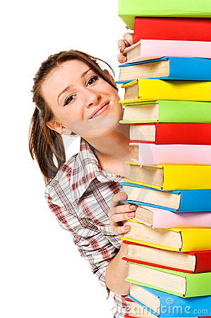Happy girl with stack color book