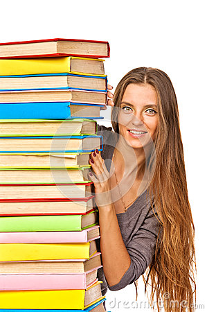 Happy girl with stack color books