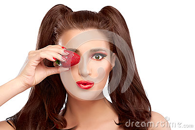 Happy Girl with Strawberry in Eye and Funny Expression
