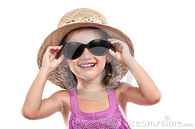 Happy girl sunglasses summer isolated