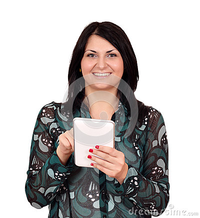 Happy girl with tablet pc on white