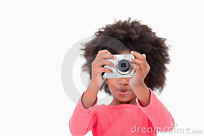 Happy girl taking a picture