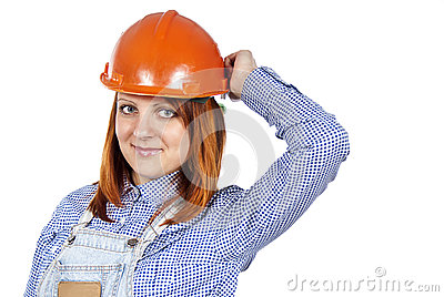 Happy girl to builder the helmet
