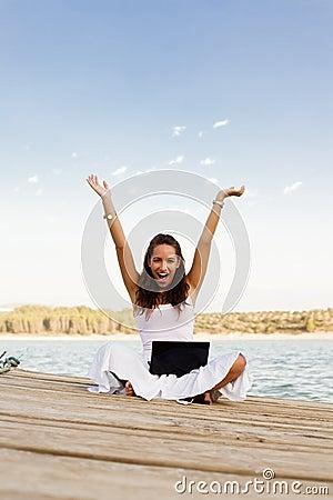 Happy girl using laptop