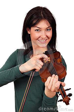 Happy girl with violin