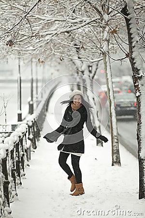 Happy girl in winter season
