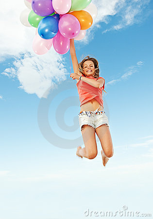 Free Happy Girl With Colorful Balloons Stock Photo - 10329510
