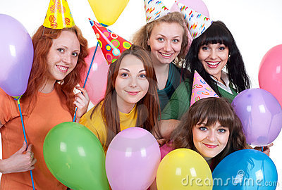 Happy girls with balloons