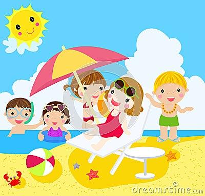 Happy girls and boys on beach