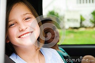 Happy Girls in a Car