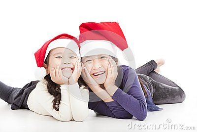Happy girls in christmas hat