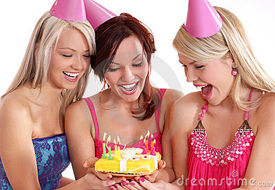 Happy girls having a Birthday party