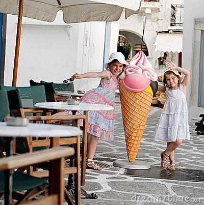 Happy girls and icecream cone