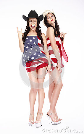 Free Happy Girls In Hats And American Flag Posing Stock Photos - 40207893