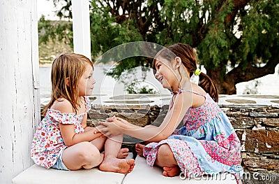 Happy girls playing
