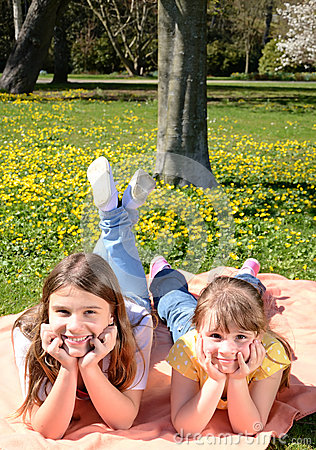 Happy girls relaxing outdoor