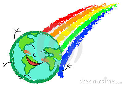 Happy globe rainbow