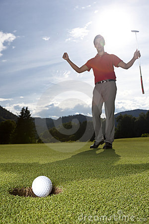 Happy golf player.