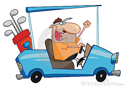 Happy golfer drives golf cart