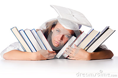 Happy graduate with lots of books