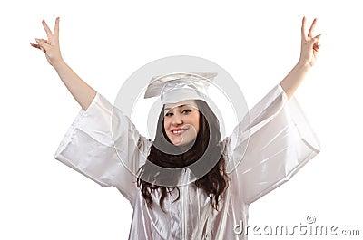 Happy graduate on white