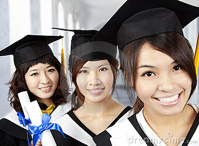 Happy graduation asian girls