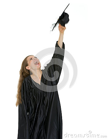 Happy graduation student throwing up cap
