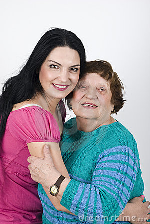 Free Happy Grandmother And Granddaughter Embrace Stock Image - 14064391
