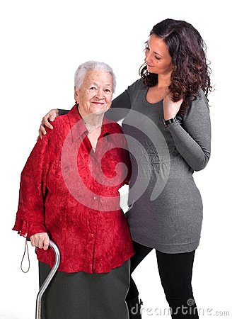 Happy grandmother with granddaughter