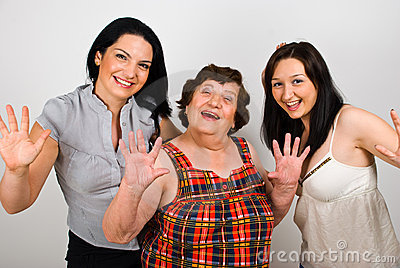 Happy grandmother with granddaughters