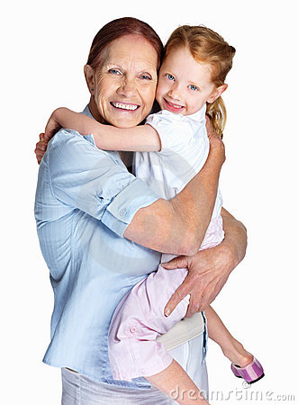 Happy grandmother holding her granddaughter