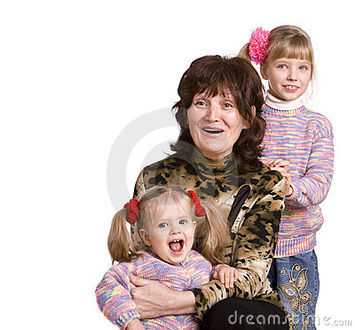 Happy grandmother and two granddaughter.