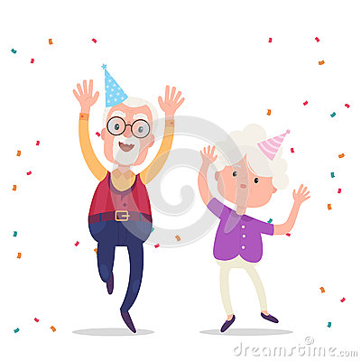 Happy grandparents celebrate the birthday party Vector Illustration