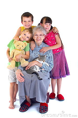 Happy granny and children